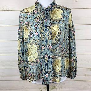 HM William Morris  & CO tie blouse
